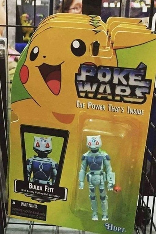 Star Wars pokemon action figure in a box being sold at a store.