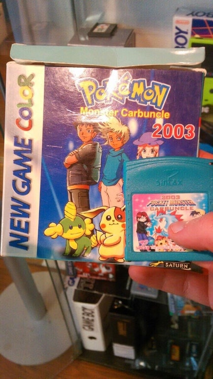 A fake bootleg version of a pokemon gameboy game. It is for Gameboy color and claims to be for the year 2003.