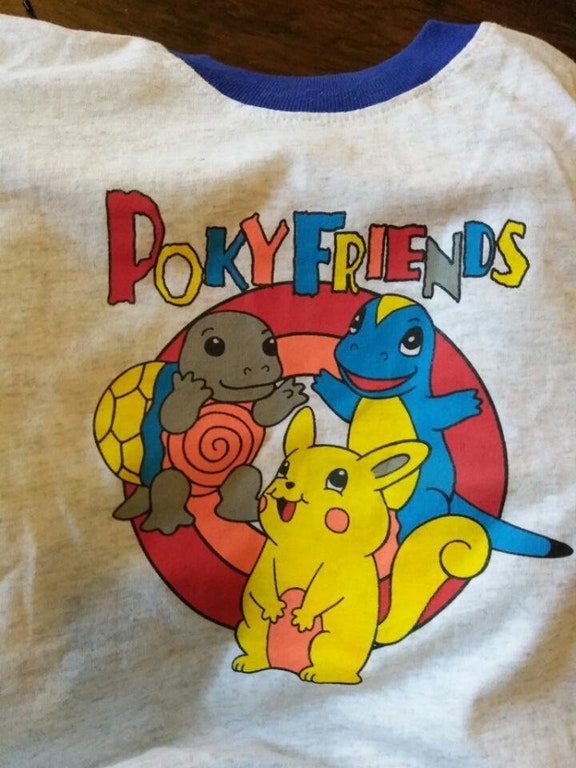 "A t-shirt with ""PokyFriends"" a knockoff of pokémon"