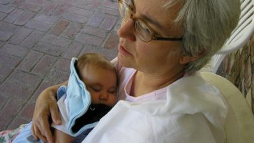 Grandmother holding a grandchild